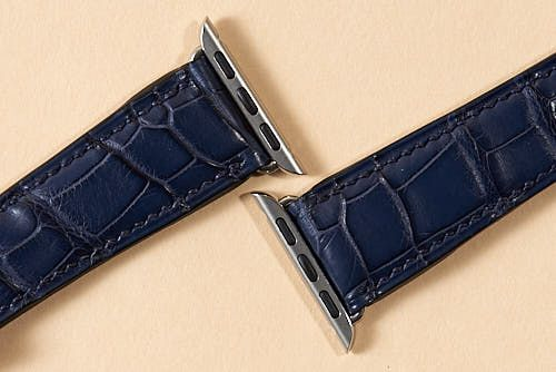 Mid Blue Alligator with Navy Lin Cable Made for Apple Watch Fittings