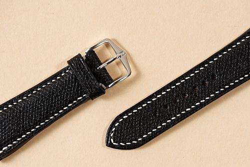 Black Grained Calf Watch Strap with Natural Lin Cable