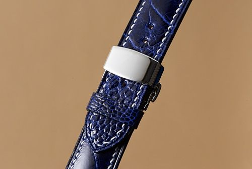 Handmade Ostrich Leg Watch Strap in Hydrangea Blue  with Natural Lin Cable
