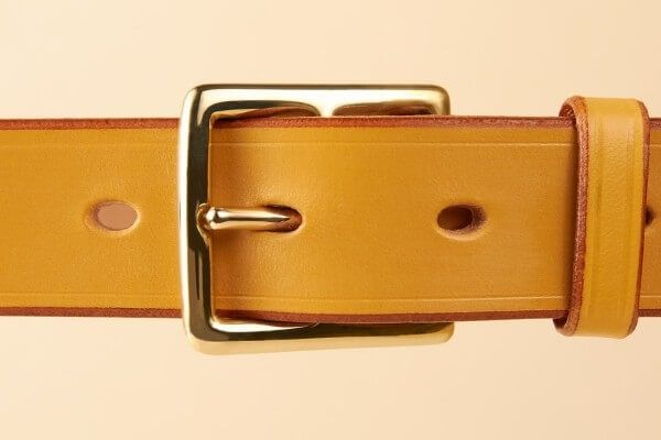"1 1/4"" Brass Fillis Handmade Leather Belt in London Tan"
