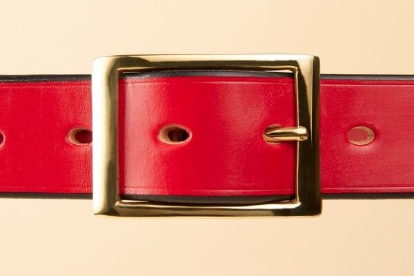 "1 1/4"" Brass Kensington Handmade Leather Belt in Pillarbox Red"