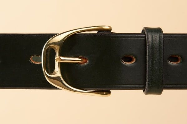 "1 1/4"" Stirrup Handmade Leather Belt in Equus Green"