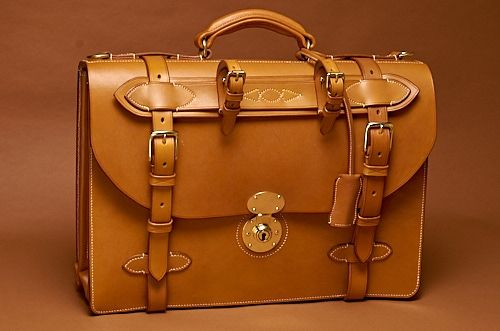 The Equus Briefcase in Bakers London Tan with Ecru Stitching. Fitted with Umbrella Holder
