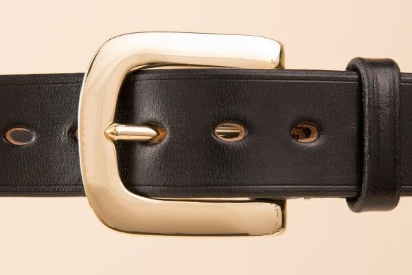 "Flat West End Bridle Leather Belt in 1 1/4"" Dark Havanna"