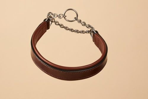 Bridle Leather Padded Half Check in Australian Nut
